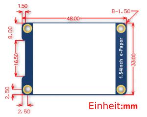"""1.54"""" Inch eInk/ePaper Display 200×200, schwarz-weiss, Partial Refresh"""