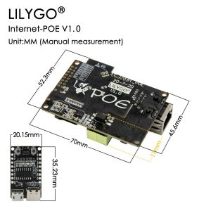 Lilygo TTGO T-Internet-POE ESP32-WROOM mit LAN Adapter Developmentmodul