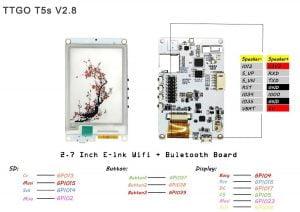 "LilyGo TTGO T5s 2.7"" 2-Color EPaper/E-Ink inkl. ESP32 und Mikrofon (Eink), MAX9835, ICS43434)"
