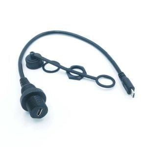USB Kabel Durchdringung Verlängerung Buchse IP67, 30cm (optional Micro-USB oder USB-C)